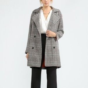 Faux Wool Checkered Trench Coat